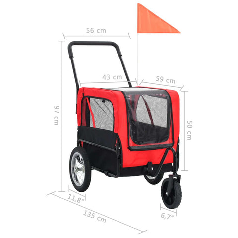 Image of 2-in-1 Pet Bike Trailer and Jogging Stroller Measurement and Diameter Everyday Pets
