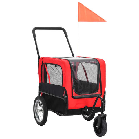 Image of 2-in-1 Pet Bike Trailer and Jogging Stroller Red and Black Everyday Pets