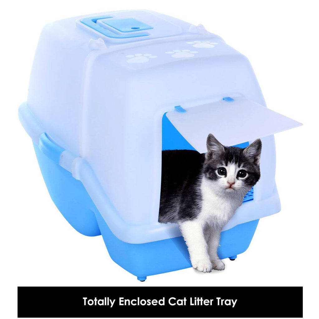 2 in 1 Large Hooded Cat Litter Tray with Convenient Flap Door for Easy Transportation