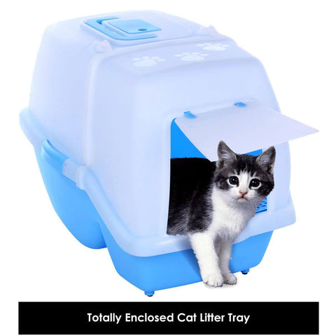 Image of 2 in 1 Large Hooded Cat Litter Tray with Convenient Flap Door for Easy Transportation