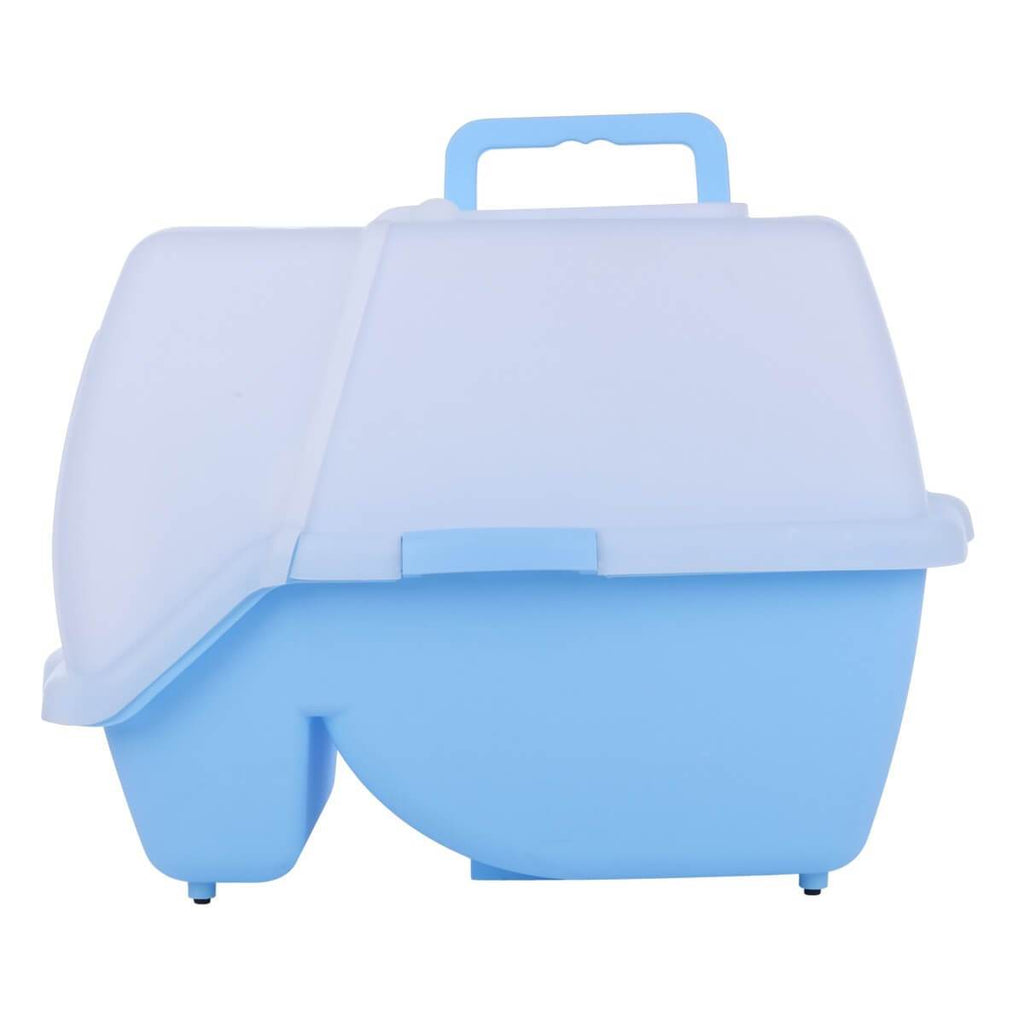 2 in 1 Large Hooded Cat Litter Tray with Flap Door - Carry Handle for Easy Transport
