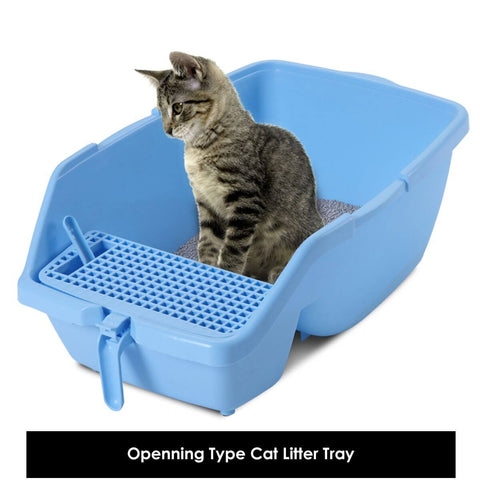 Image of 2 in 1 Large Hooded Cat Litter Tray with Flap Door - Cat Private Toilet