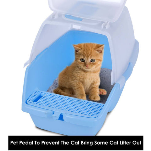 Image of 2 in 1 Large Hooded Cat Litter Tray with Flap Door - Cat's Private Secure Space