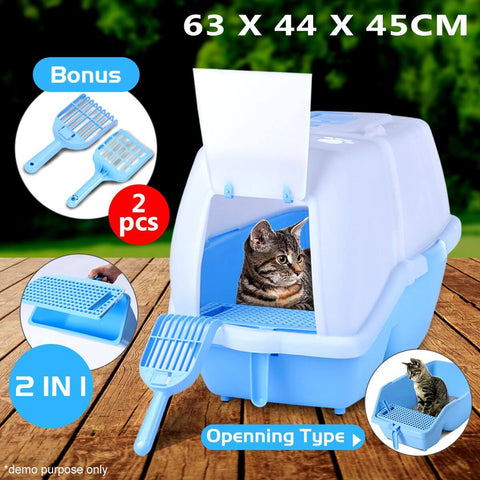 Image of 2 in 1 Large Hooded Cat Litter Tray with Flap Door 62x44x45cm
