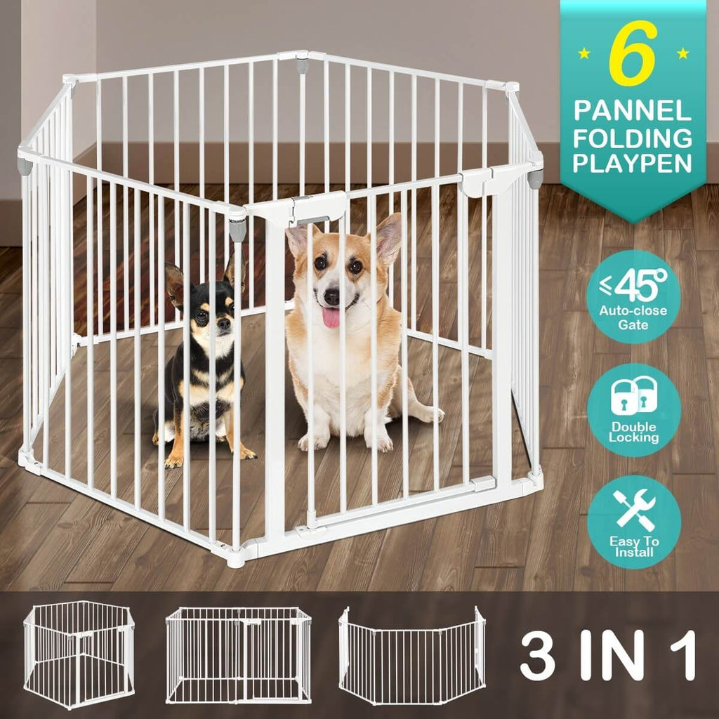 3-in-1 Metal Safety Playpen Puppy Kids with Double Locking System - White 6 Panel Folding Playpen