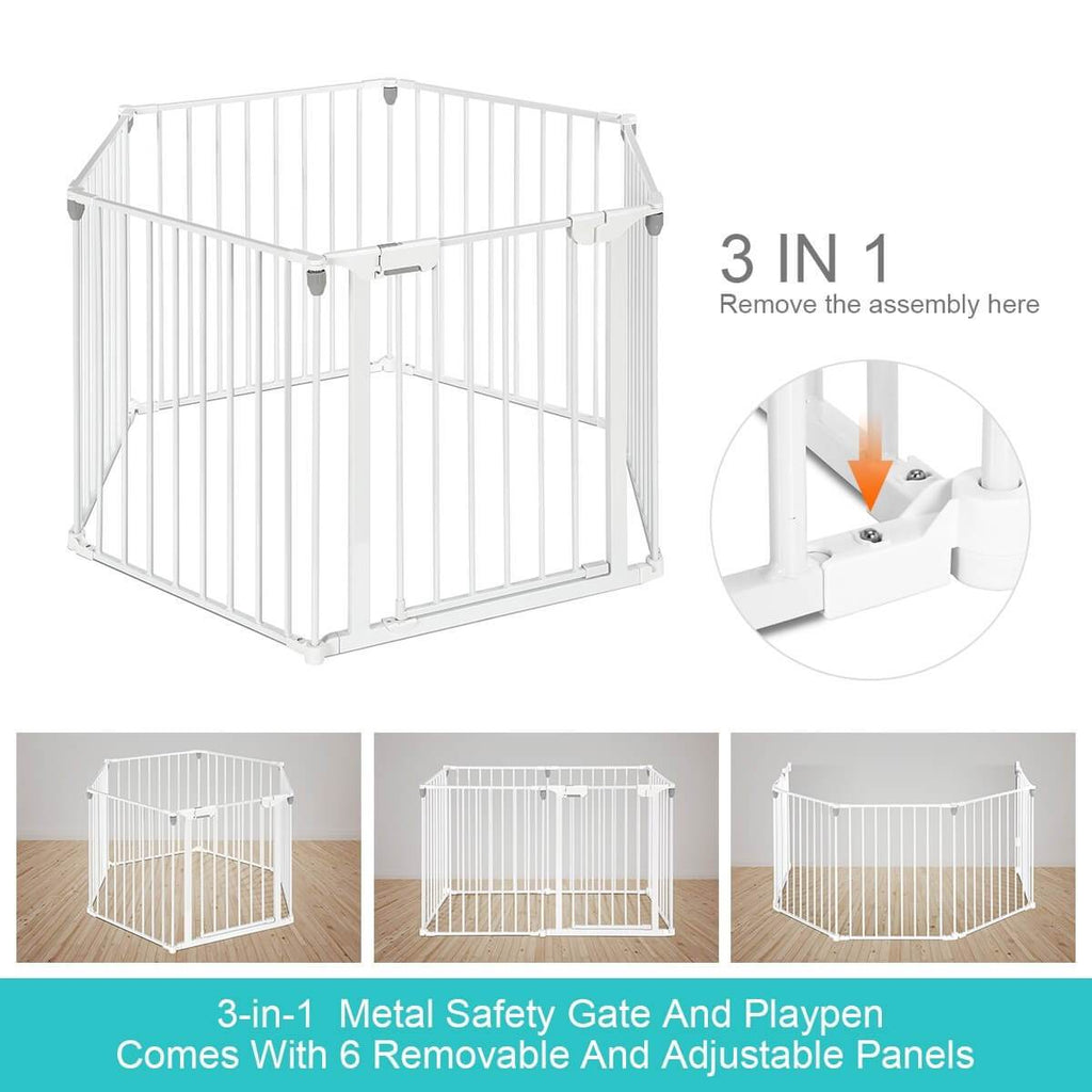 3-in-1 Metal Safety Playpen Puppy Kids with Double Locking System - White Adjustable Panels
