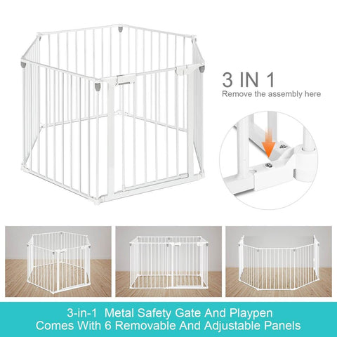 Image of 3-in-1 Metal Safety Playpen Puppy Kids with Double Locking System - White Adjustable Panels