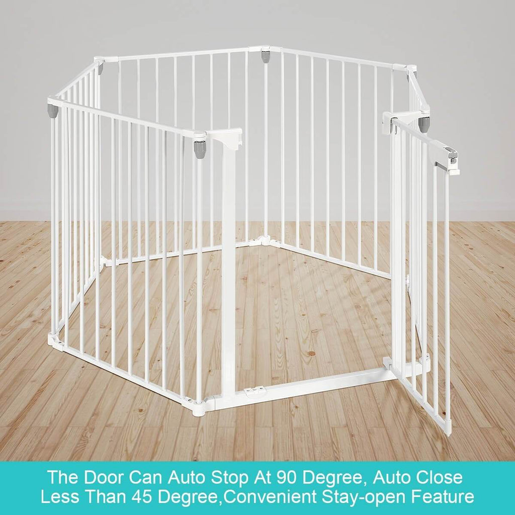 3-in-1 Metal Safety Playpen Puppy Kids with Double Locking System - White Auto Stop 90 Degree