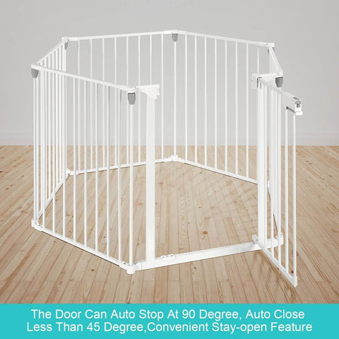 Image of 3-in-1 Metal Safety Playpen Puppy Kids with Double Locking System - White Auto Stop 90 Degree