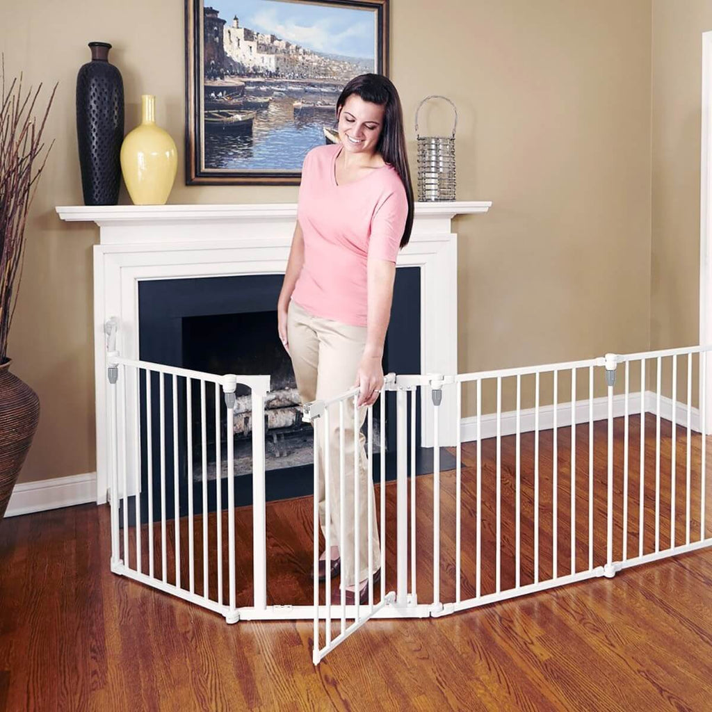3-in-1 Metal Safety Playpen Puppy Kids with Double Locking System - White Pet Door