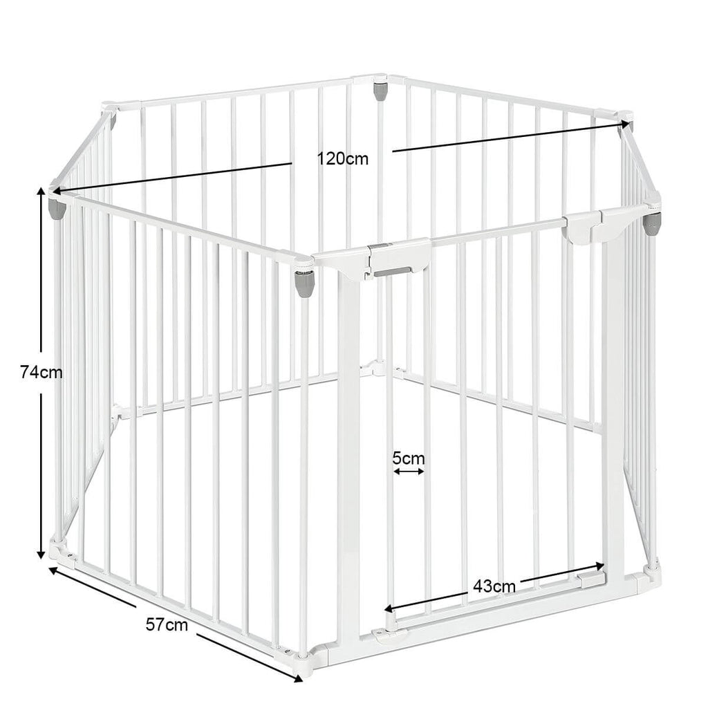 3-in-1 Metal Safety Playpen Puppy Kids with Double Locking System - White Product Dimensions