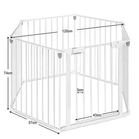 Image of 3-in-1 Metal Safety Playpen Puppy Kids with Double Locking System - White Product Dimensions