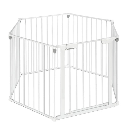 Image of 3-in-1 Metal Safety Playpen Puppy Kids with Double Locking System - White