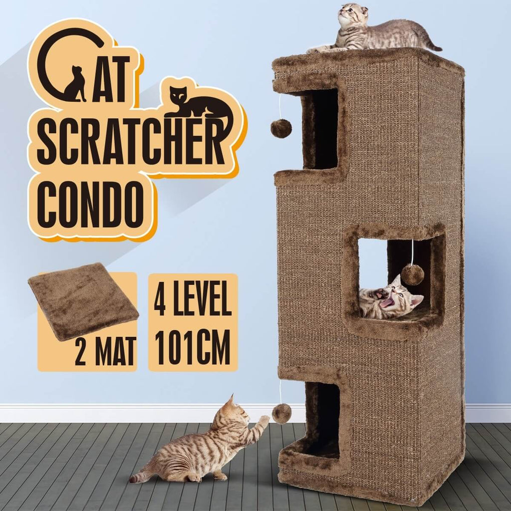 4-Level Cat Tunnel House Scratcher Post Pet Climbing Frame Scratching Barrel 101CM