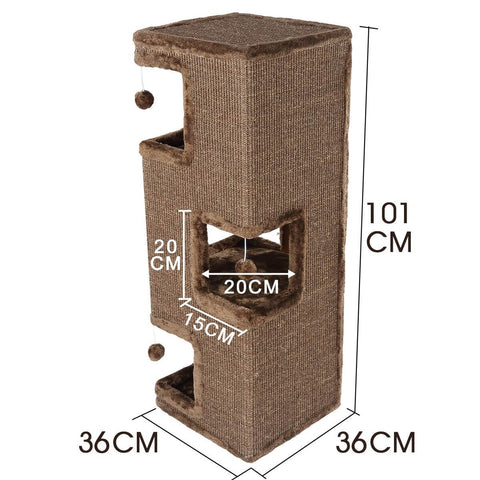 Image of 4-Level Cat Tunnel House Scratcher Post Pet Climbing Frame Scratching Barrel Product Dimensions