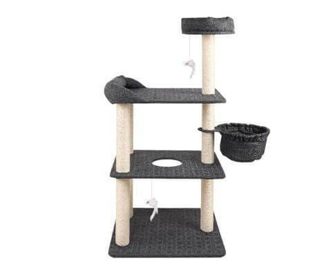Image of 4-level Design Interactive Cat Play Area Scratch Tree