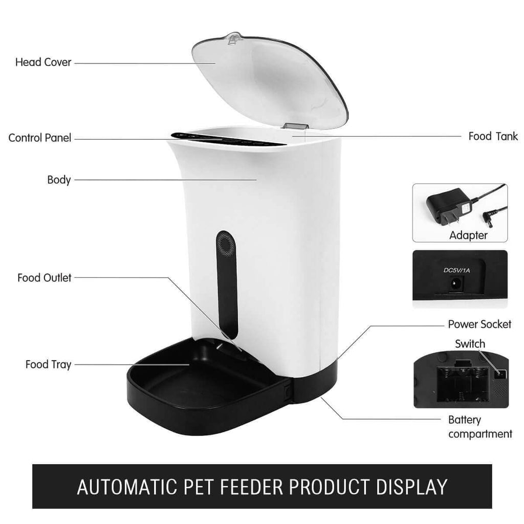 4.3L Automatic Digital Pet Feeder Food Bowl Dispenser Parts and Display Everyday Pets