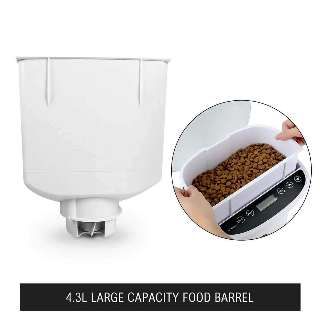 4.3L Automatic Digital Pet Feeder Food Bowl Dispenser and Food Tray Everyday Pets