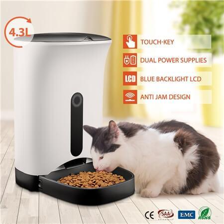 4.3L Automatic Digital Pet Feeder Food Bowl Dispenser with Pet Cat Everyday Pets