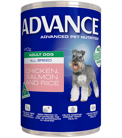 Advance Adult Wet Dog Food Chicken Salmon & Rice 12 x 410gms Everyday Pets