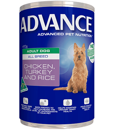 Advance Adult Wet Dog Food Chicken Turkey & Rice 12 x 410gms Everyday Pets