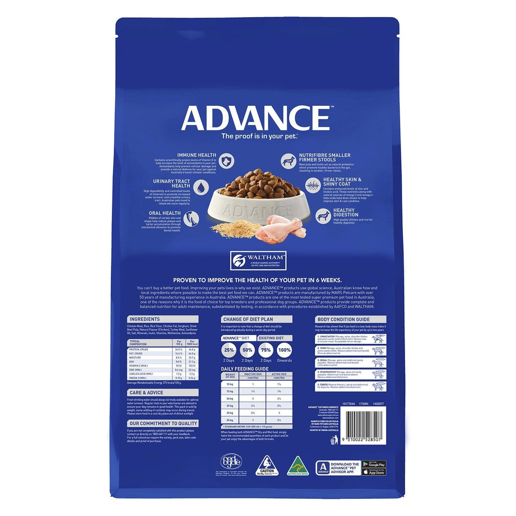 Advance Adult Dog All Breed Dry Dog Food Chicken 15kg Everyday Pets