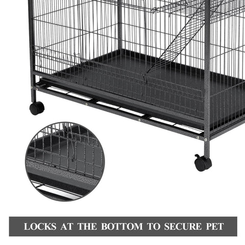 Image of 4 Levels Powder Coated Frame Pet CAT Home Cage with Bottom Lock To Secure Pets