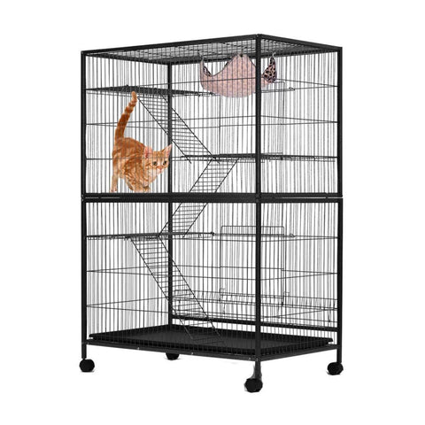 Image of 4 Levels Powder Coated Frame Pet CAT Home Cage with Bottom Lock