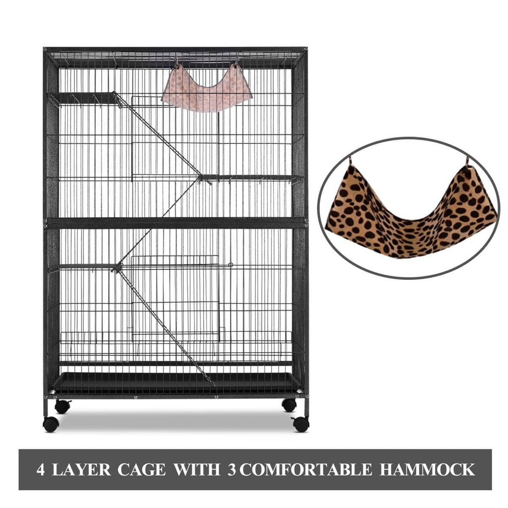 4 Levels Powder Coated Frame Pet CAT Home Cage with Bottom Lock and Hammock