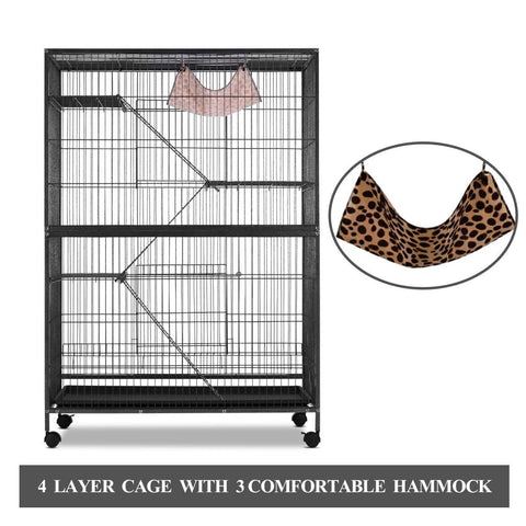 Image of 4 Levels Powder Coated Frame Pet CAT Home Cage with Bottom Lock and Hammock