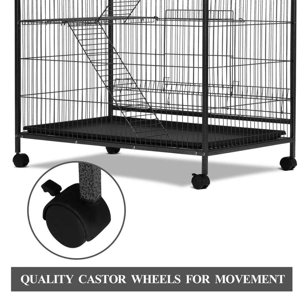 4 Levels Powder Coated Frame Pet CAT Home Cage with Coaster Wheels