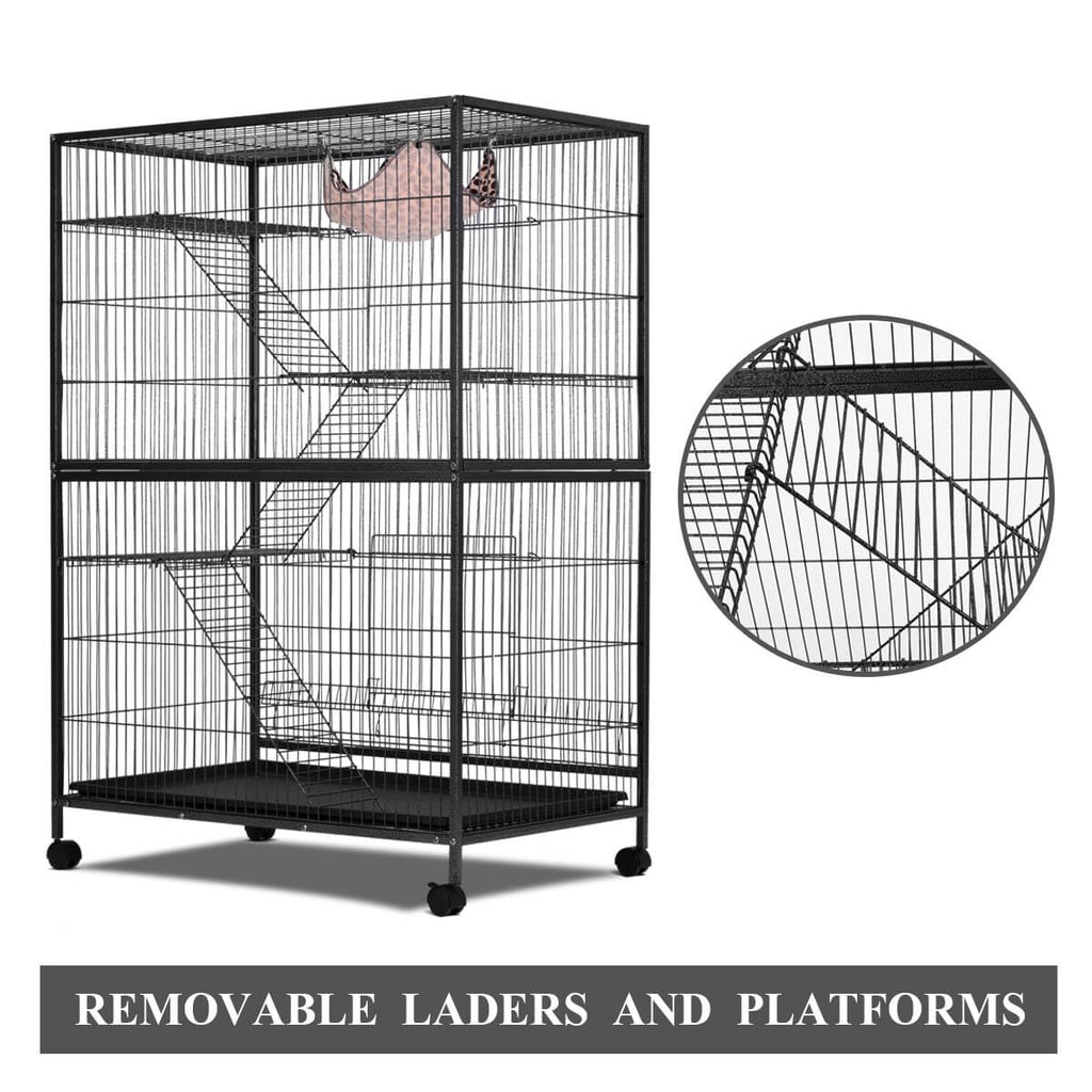 4 Levels Powder Coated Frame Pet CAT Home Cage with Removable Ladders and Platforms
