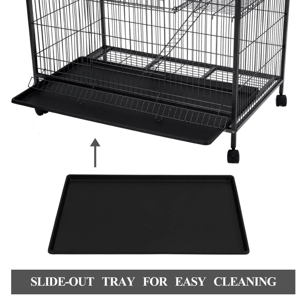 4 Levels Powder Coated Frame Pet CAT Home Cage with Slide Out Tray