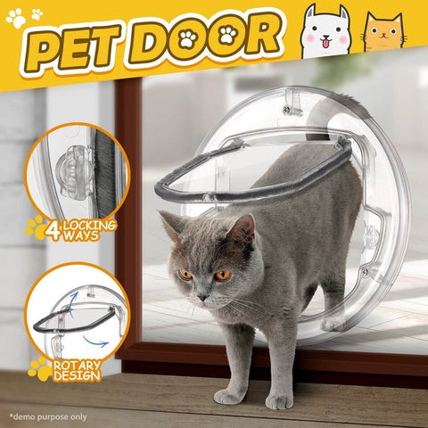Image of 4 Way Locking Dog Cat Pet Brushy Flap Door Cat Pet Inside