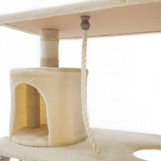 Cat Tree Scratching Post Scratcher Pole Gym Toy House MAPLE 141cm - Beige