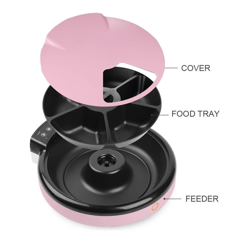 5-Meal Auto Pet Feeder DogCat Bowl Automatic Food Dispenser 3 Layer Parts
