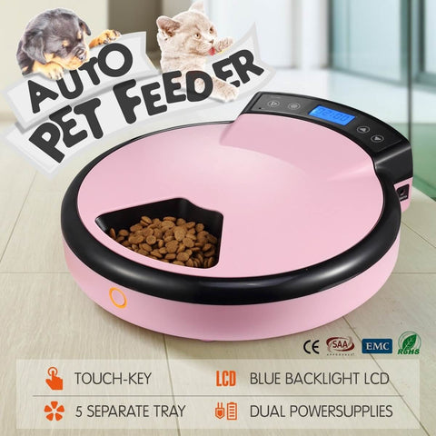 Image of 5-Meal Auto Pet Feeder Dog Cat Bowl Automatic Food Dispenser With Lcd Display 1.2L - Pink