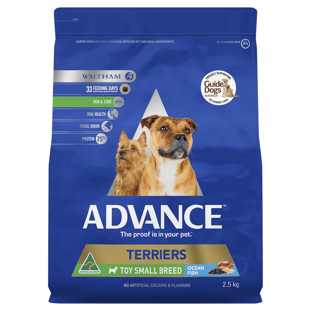 Advance Adult Dog Toy Small Breed Terrier Dry Dog Food Ocean Fish 2.5kg Everyday Pets