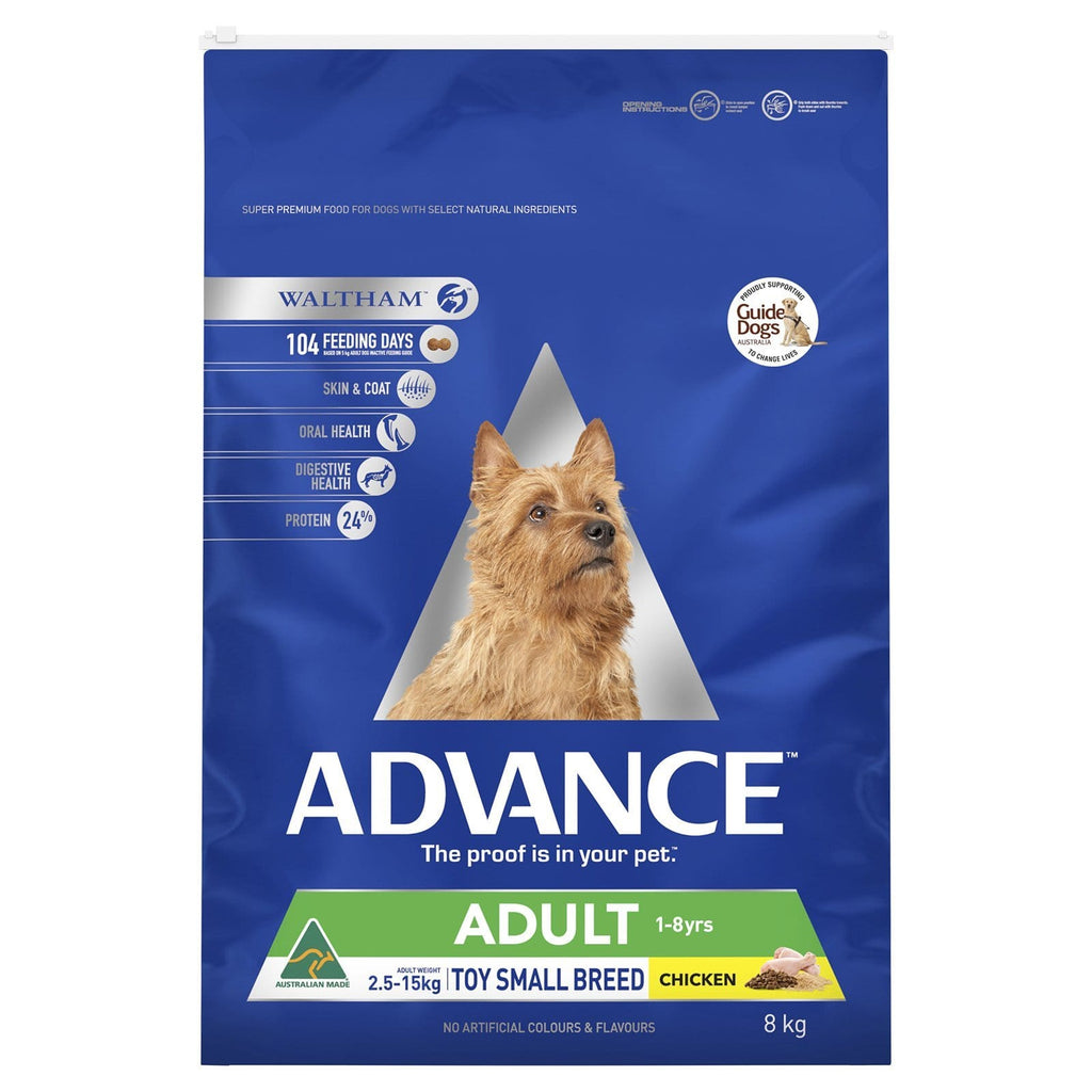 Advance Adult Toy Small Breed Dry Dog Food Chicken 8kg Everyday Pets