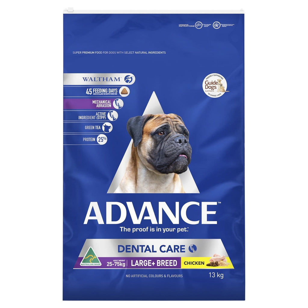 Advance Adult Dog Dental Large Breed Dry Dog Food Chicken 13kg Everyday Pets