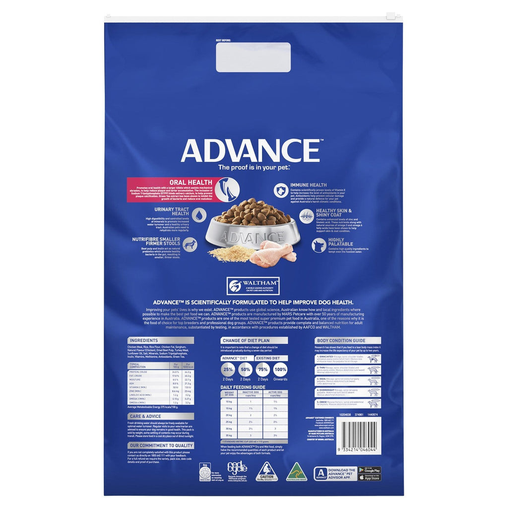 Advance Adult Dog Dental All Breed Dry Dog Food Chicken Everyday Pets