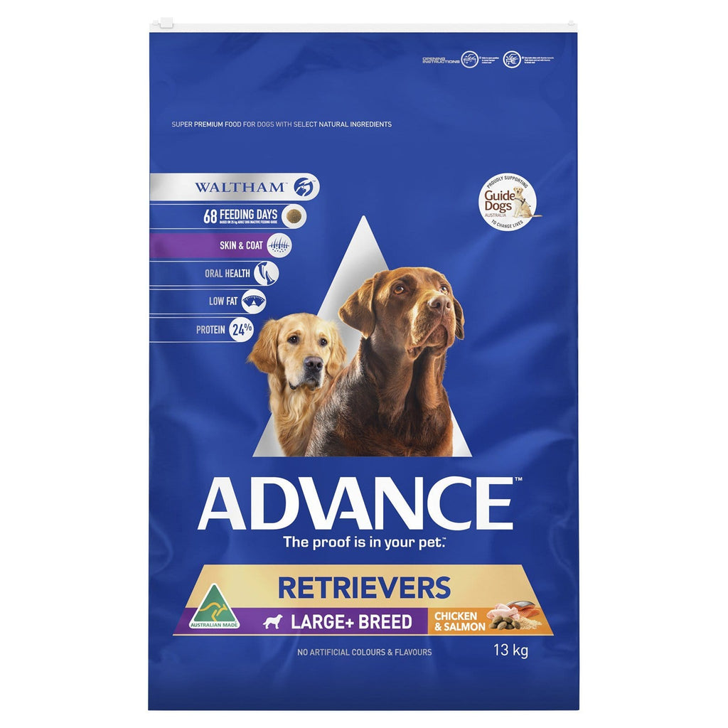 Advance Adult Dog Retriever Large+ Breed Dry Dog Food Chicken & Salmon 13kg Everyday Pets