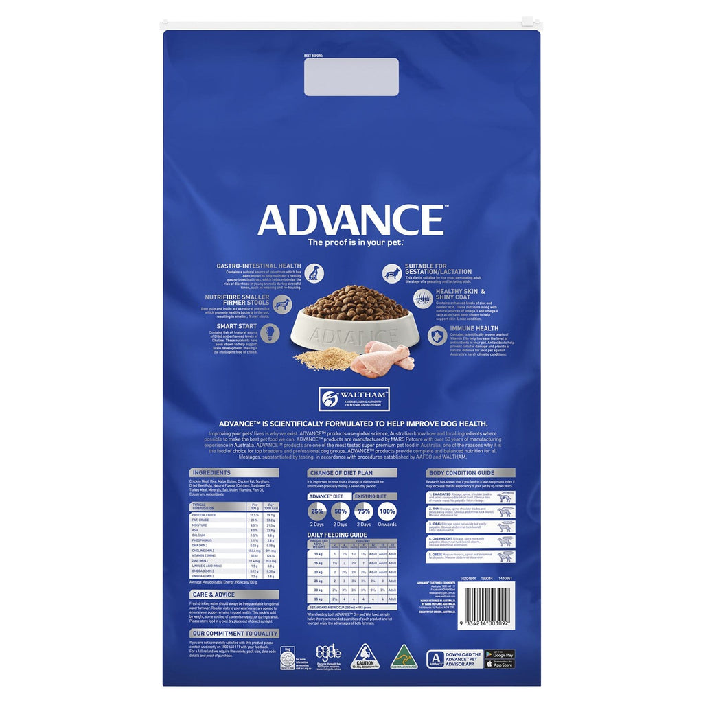 Advance Puppy Plus Growth All Breed Dry Dog Food Chicken 15kg Everyday Pets