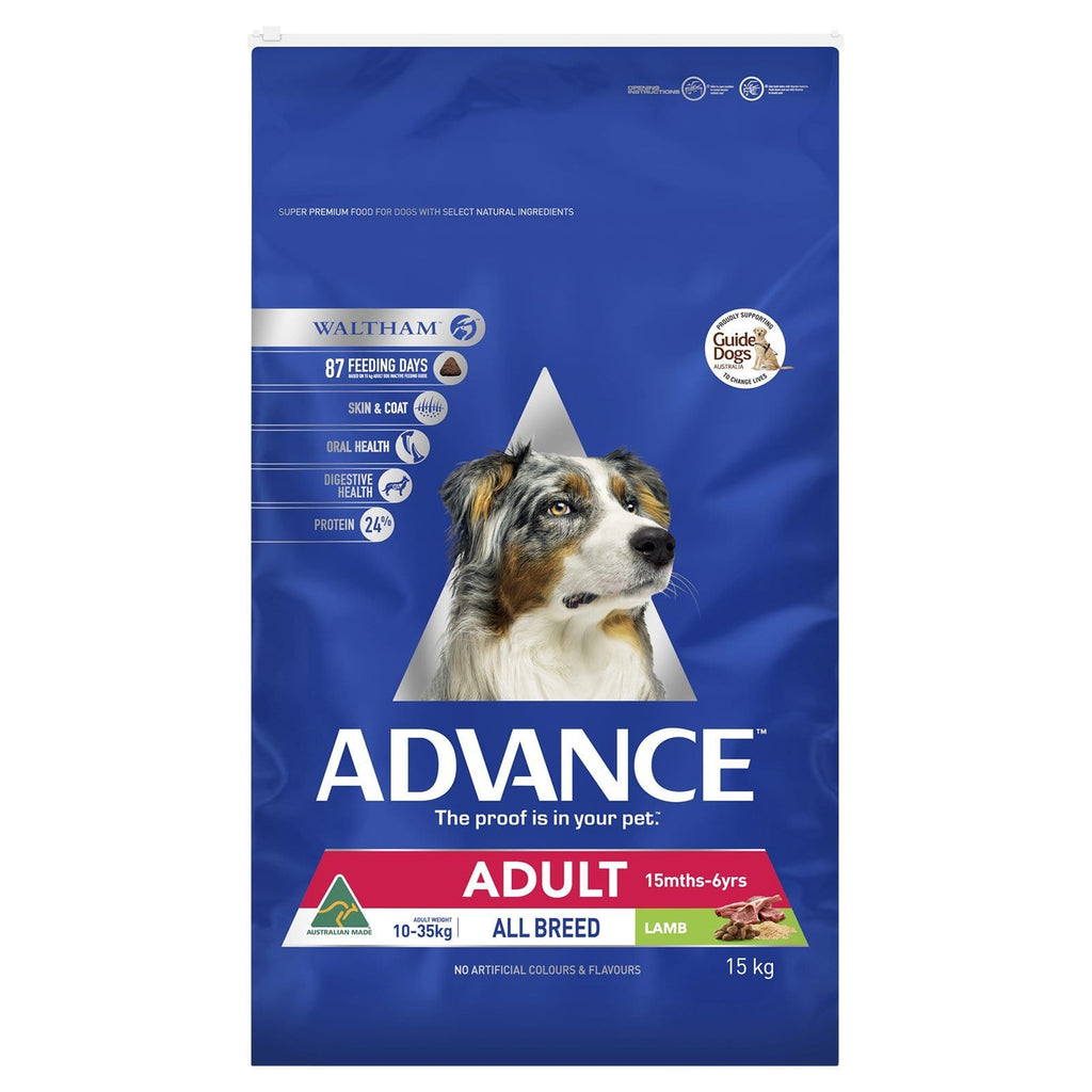Advance Adult Dog All Breed Dry Dog Food Lamb 15kg Everyday Pets