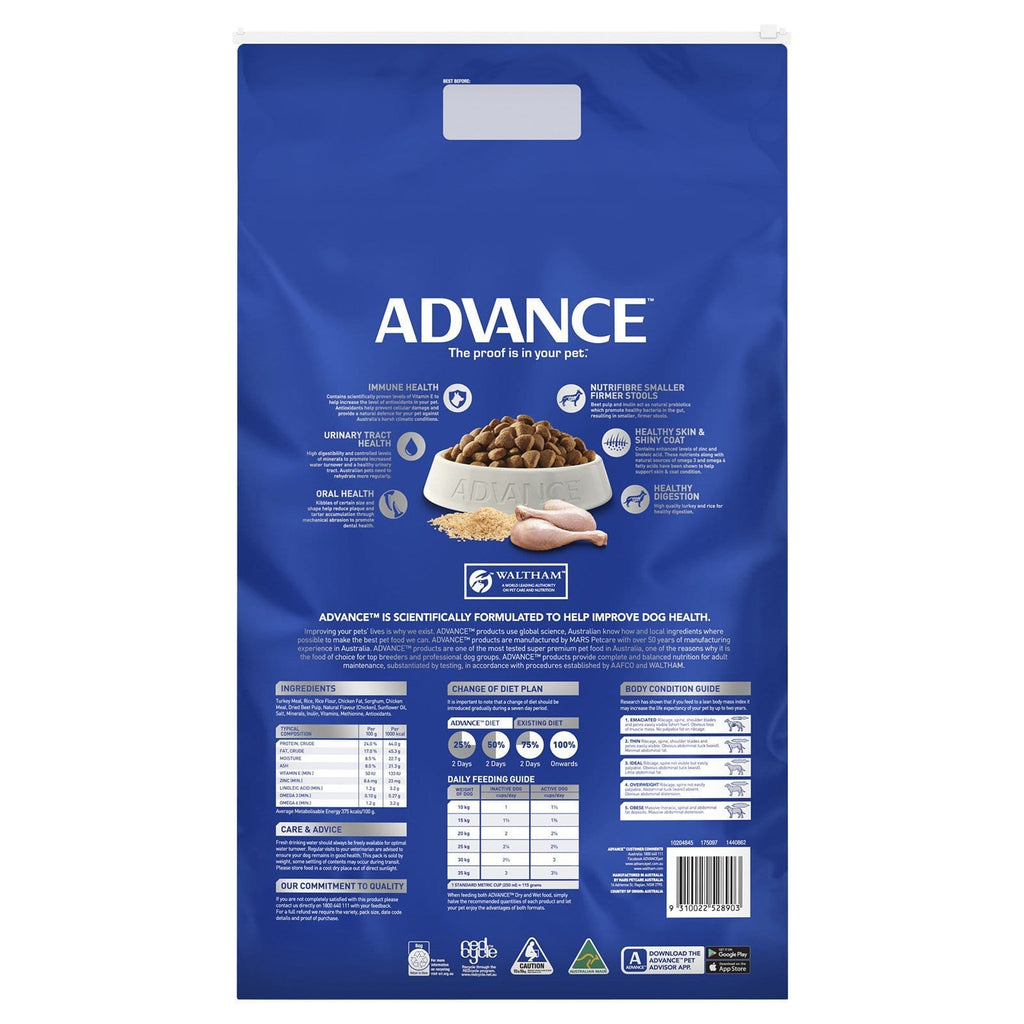 Advance Adult Dog All Breed Dry Dog Food Turkey 15kg Everyday Pets