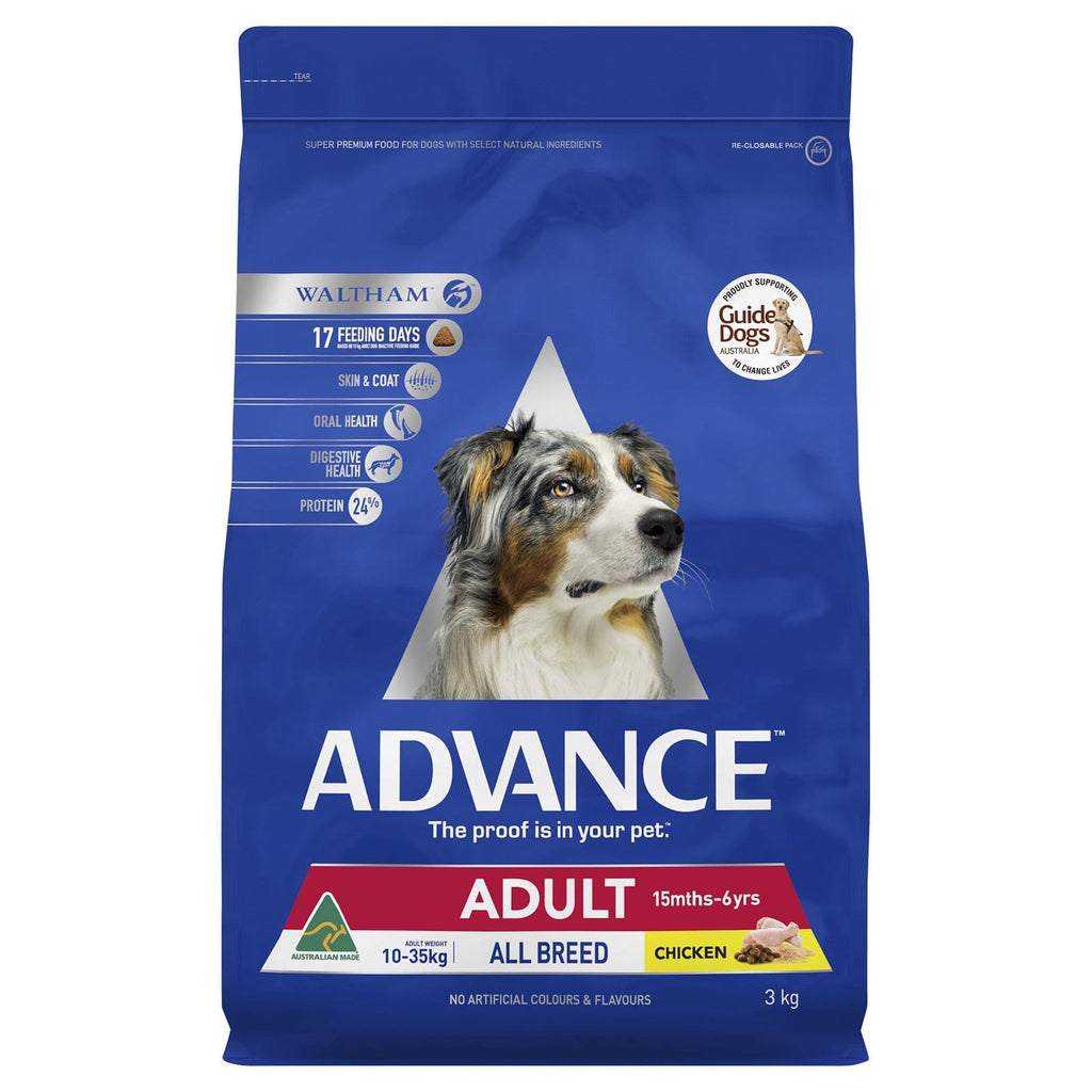 Advance Adult Dog All Breed Dry Dog Food Chicken 3kg Everyday Pets
