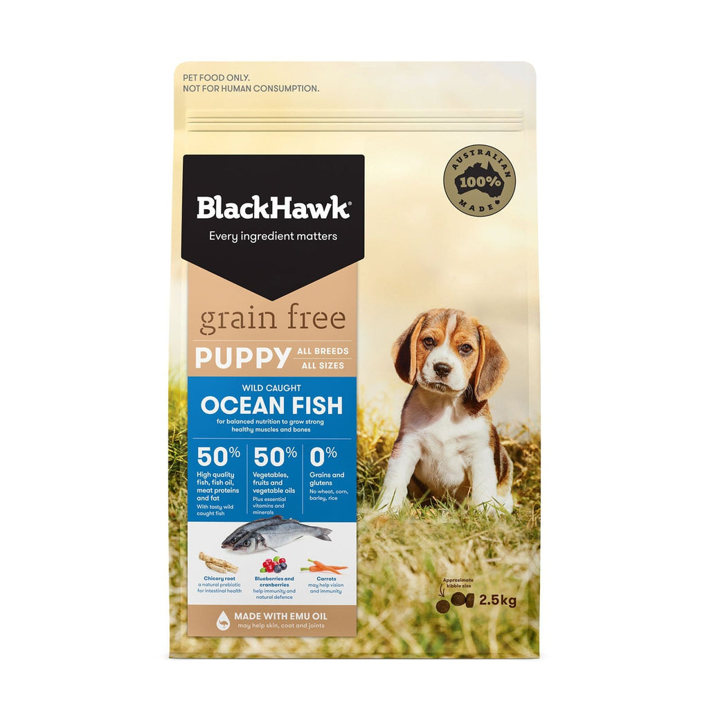 Black Hawk Grain Free Holistic Puppy Dry Dog Food Ocean Fish 2.5kg Everyday Pets