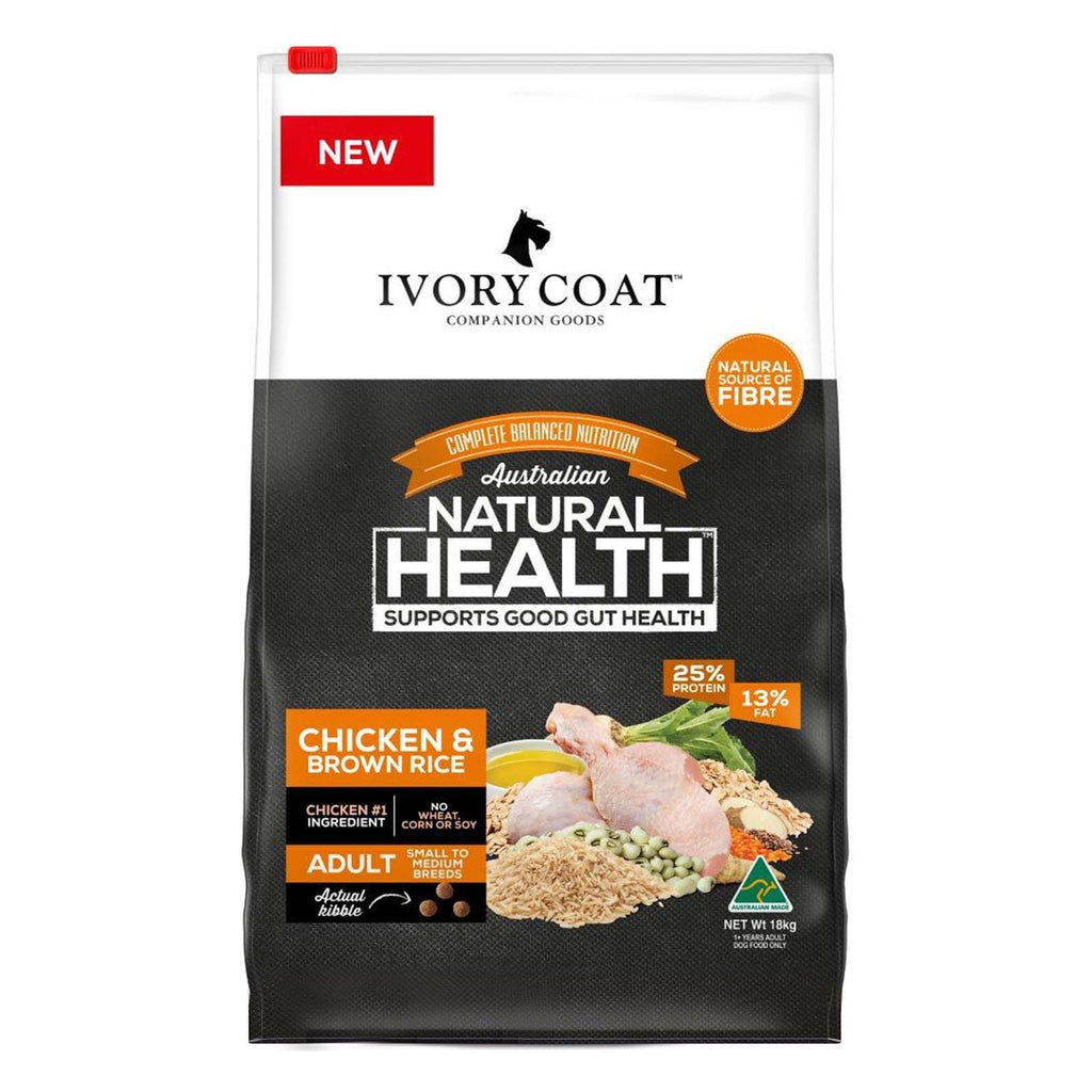 Ivory Coat Adult Dog Healthy Gut Chicken & Brown Rice Dry Dog Food 18kg Everyday Pets