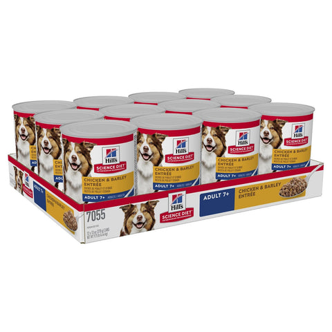 Image of Hill's Adult Trays 7+ Chicken & Barley Entree Cans Dog Food 12 x 370gm