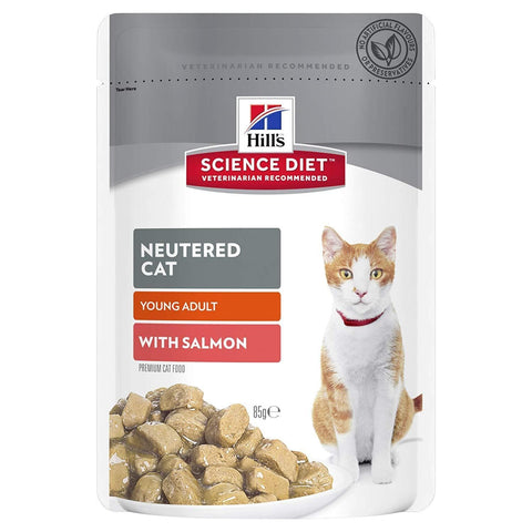 Image of Hill's Science Diet Adult Cat Neutered Wet Food Salmon Pouches 12 x 85g Everyday Pets